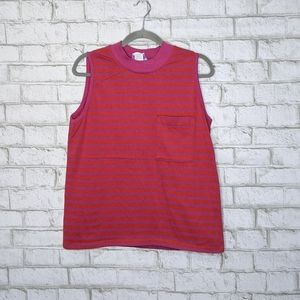 Vtg Sleeveless Sweatshirt Tank Top Stripe Pocket